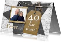 Jubileumkaarten - Jubileum label en foto op hout b