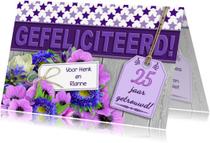 Felicitatiekaarten - Jubileum met bloemen sterren  op steigerhout