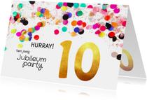 Jubileumkaarten - Jubileum uitnodiging 10 jaar goud