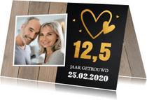 Jubileumkaarten - Jubileumkaart 12,5 jaar foto hartje hout