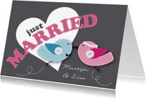 Trouwkaarten - Just Married Happy Birds