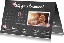 Trouwkaarten - Kalender krijt trouwen - BK