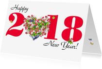 Nieuwjaarskaarten - KendieKaart 2018 Blossom hearts