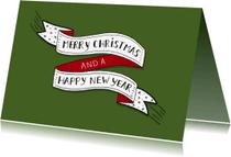 Kerstkaarten - Kerst banner eigen kleur liggend