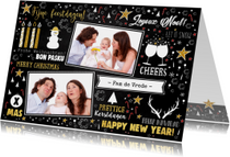 Kerst feestelijke typografische kaart met 2 foto's