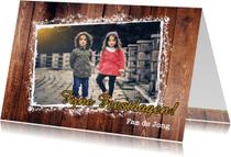 Kerstkaarten - Kerst foto hout sterren L