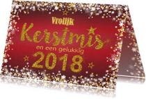 Kerstkaarten - Kerst stijlvol rood  handlettering goud glitter 2018