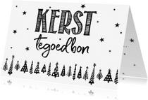 Kerstkaarten - Kerst tegoedbon handlettering kerstbomen