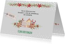 Kerstkaarten - Kerst-verhuiskaart huisjes en kerstkoekjes