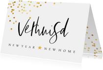 Kerstkaarten - Kerst verhuiskaart met confetti en handgeschreven teksten