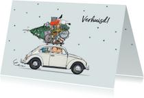 Kerst verhuiskaart VW kever grijs