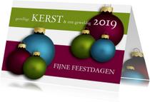 Zakelijke kerstkaarten - Kerstkaart kerstballen in 3 kleuren 2019