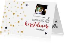 Menukaarten - Kerstdiner goud/zwart wit
