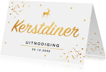 Kerstdiner uitnodiging confetti goud