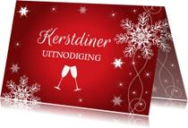 Kerstkaarten - Kerstdiner uitnodiging rood design - LB