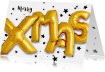 Kerstkaart ballonnen xmas 2019 goud