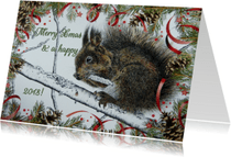 Kerstkaarten - Kerstkaart Eekhoorn rood