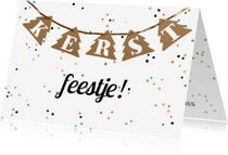 Kerstkaarten - Kerstkaart feestje slinger
