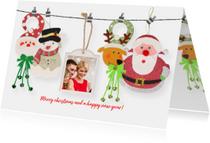 Kerstkaarten - Kerstkaart figuurtjes aan waslijn