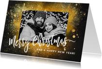Kerstkaart goud glitters en foto