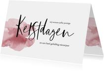 Kerstkaarten - Kerstkaart handlettering en roze waterverf