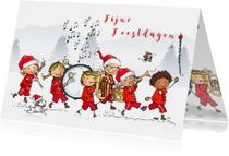 Kerstkaarten - Kerstkaart kinderen fanfare