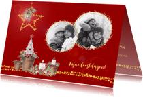 Kerstkaarten - Kerstkaart lichtjes en kaarsen + foto