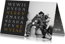 Kerstkaarten - Kerstkaart met foto en gouden letters