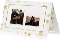 Kerstkaart met goudlook kader en foto's
