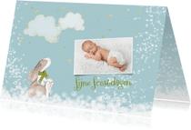 Kerstkaarten - Kerstkaart met konijntje in de sneeuw + foto