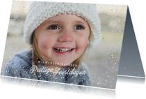 Kerstkaarten - Kerstkaart met sterretjeskader en gouden stipjes