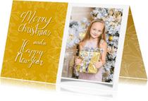Kerstkaarten - Kerstkaart mistletoe fotokaart met gele achtergrond