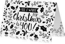 Kerstkaarten - Kerstkaart modern zwart wit takken