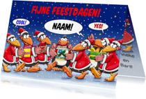 Kerstkaarten - Kerstkaart pinguïns sneeuw -HE