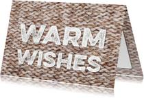 Kerstkaart Sending Warm Wishes breiwerk bruin
