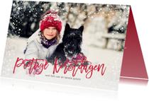 Kerstkaarten - Kerstkaart sneeuw sterren frame rood