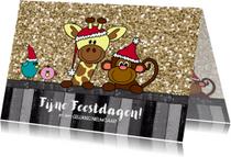 Kerstkaarten - Kerstkaart vrolijk en hip met een  girafje aapje en vogels