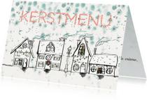 Menukaarten - Kerstmenu kaart huisjes sneeuw
