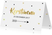Menukaarten - Kerstmenukaart hartjes sterren pijl