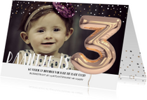 Kinderfeestjes - Kinderfeestje Ballon 3 jaar confetti