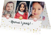 Kinderfeestje fotocollage 3 jaar met 3 foto's en confetti