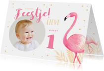 Kinderfeestjes - Kinderfeestje uitnodiging flamingo met eigen foto