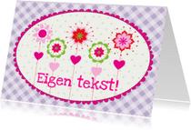 Kinderkaarten - Kinderkaart bloemen paars