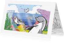 Kinderkaarten - Kinderkaart Dolfijn met kleurplaat - A