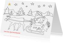 Kleurplaat kaarten - Kleurplaat - kerstman op slee