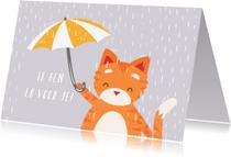 Sterkte kaarten - Knuffelkat met Paraplu