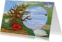Kunstkaarten - Kunst, surrealistisch landschap