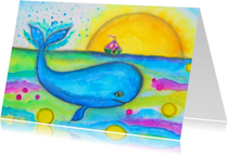 Kunstkaarten - Kunst Walvis en Bootje - AS