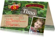 Uitnodigingen - leger camouflage foto feest