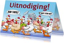 Uitnodigingen - Leuke uitnodiging etentje met kakelende kippen